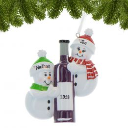 Personalized Snowman with Wine Bottle Christmas Ornament