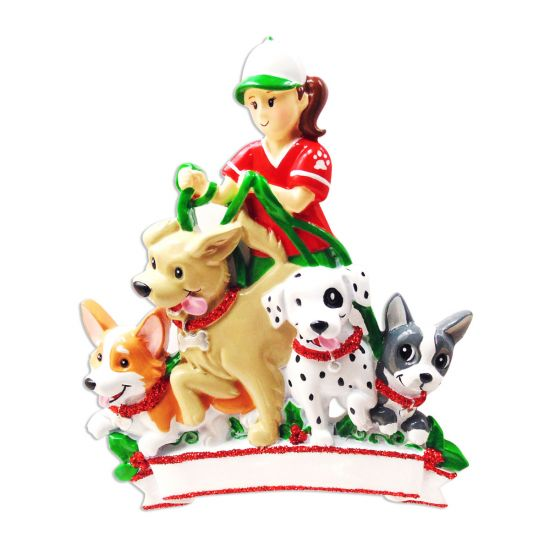 Dogs First Christmas Ornament.Personalized Dog Walker Christmas Tree Ornament 2019 Pet Sitter Girl Walking Many Dogs First Job Puppy Parade Care Love Profession Best Daily