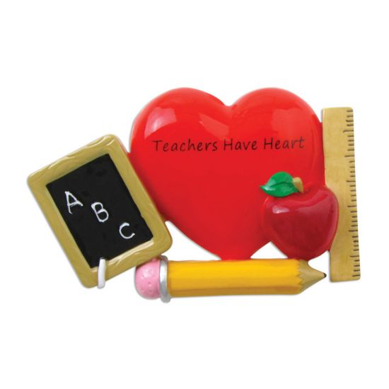 Abc Christmas Catalog 2019.Personalized Teachers Have Heart With Apple Christmas Tree Ornament 2019 Abc Blackboard Pencil World S Lecturer New College High Middle Profession